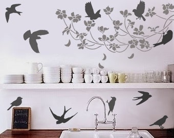 Wall Stencils -10 Songbirds - Reusable Bird STENCILS for Easy DIY Home Decor - Great for kids rooms