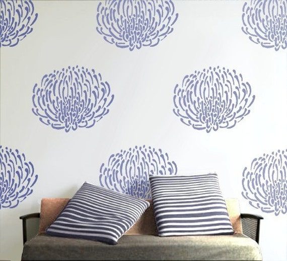 Wall Art Stencils flower stencil for walls, reusable - pin cushion protea flower