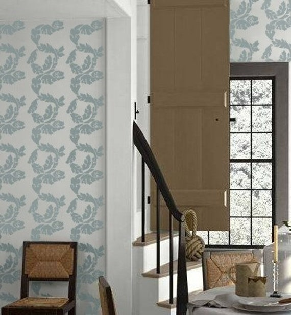 Stencil For Walls Damask Acanthus Stripe Wall Stencil