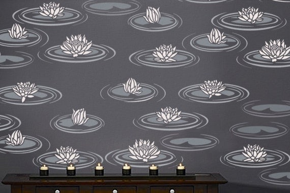 STENCIL for Walls - Water LILIES - Reusable Flower Stencil - Easy DIY Home Decor