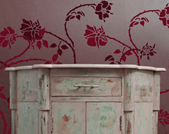 Stencil for Walls - Wild ROSE Vine - Wall STENCIL - Reusable, Durable DIY Home Decor
