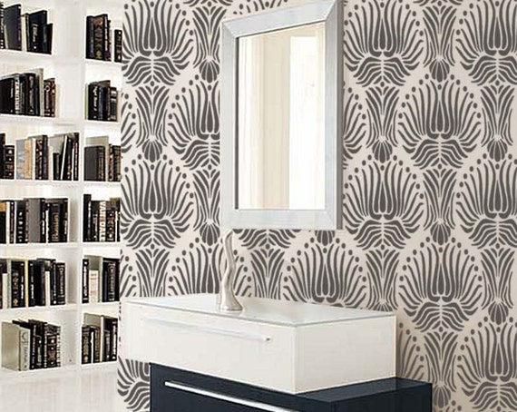 Stencil for walls art deco flora pattern large reusable - Wall painting stencils for living room ...
