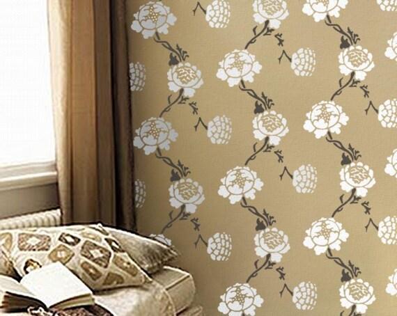 Damask STENCIL allover pattern, William Morris GRAFTON, DIY Wallpaper Alternative