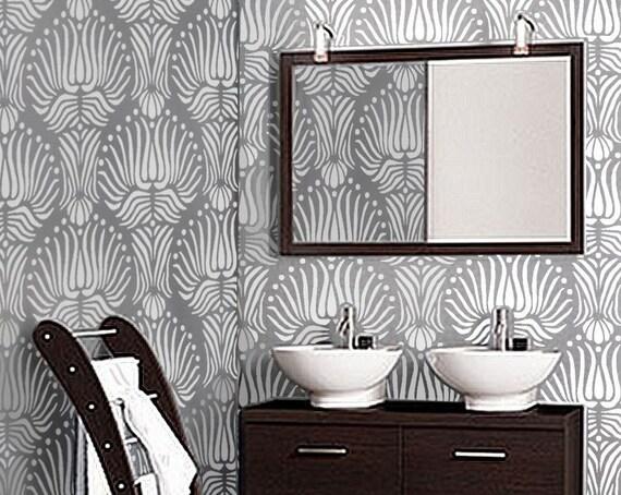 STENCIL for Walls - Art DECO Flora Pattern - Reusable DIY Home Decor