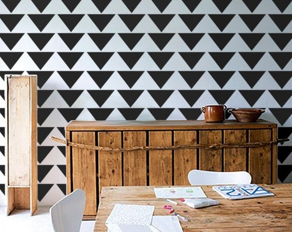 Wall Stencil - Mod Triangle PATTERN - Allover Pattern STENCIL - DIY Home/Wall Decor