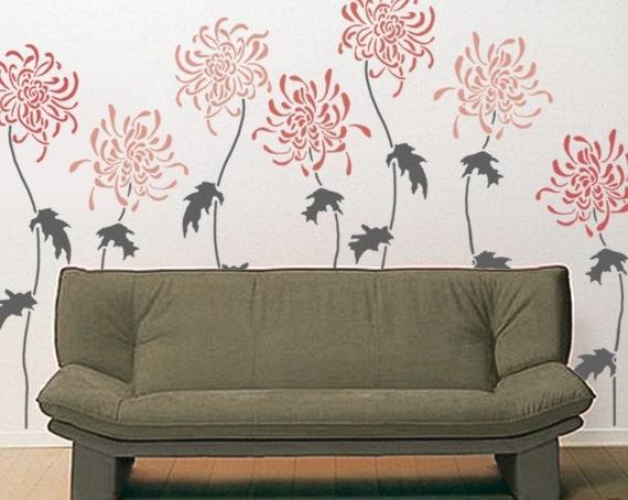 Flower STENCIL for walls - Large Chrysanthemum Flowers - Reusable Stencil for Walls