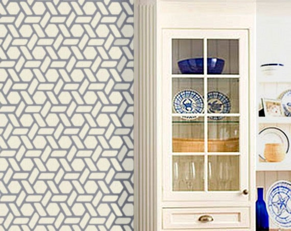 Honeycomb Pattern Wall STENCIL - Noelle's Pattern -  Hexagon Large, REUSABLE, Allover stencil for walls