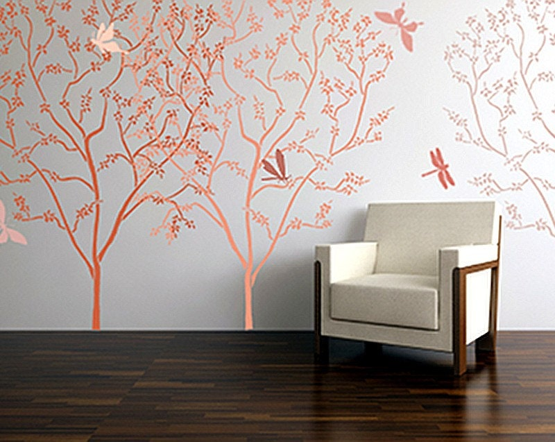 Stencils For Wall Decor : Large stencil for walls blossoming cherry tree wall