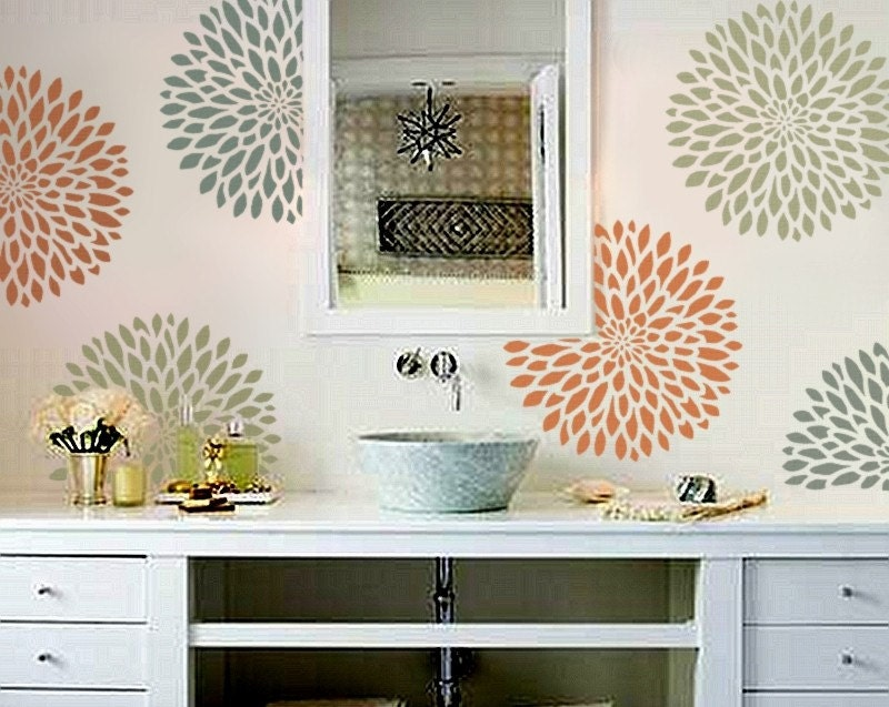 stencil for walls chrysanthemum no 2 3 sizes flower. Black Bedroom Furniture Sets. Home Design Ideas