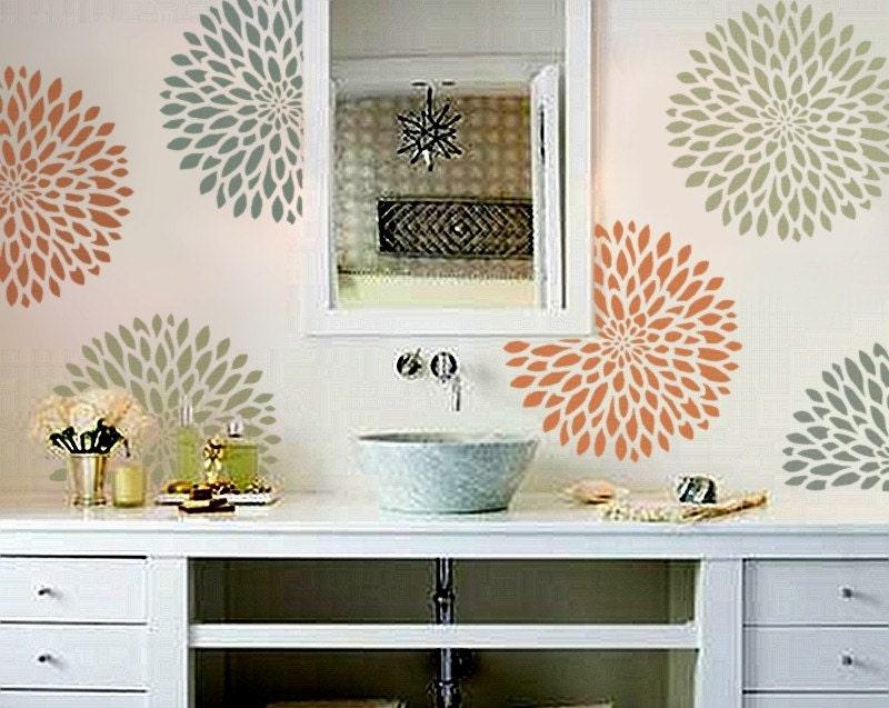 Stencil for walls chrysanthemum no 2 3 sizes flower - Modern wall stencil designs ...