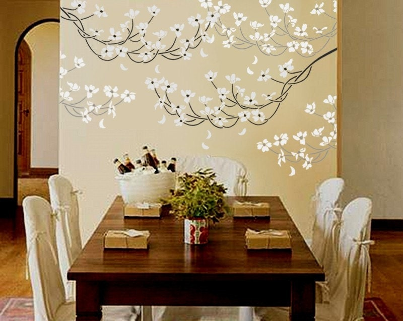 Wall Decor With Stencils : Stencil for walls flowering dogwood branch large reusable