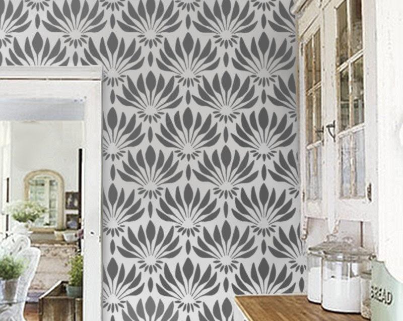 Pattern STENCIL Art Deco Fan Flowers Large Allover Wall
