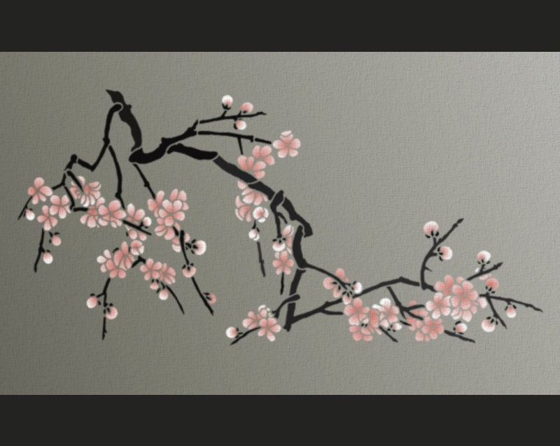 Stencil japanese cherry blossoms large branch stencil for for Cherry blossom wall mural stencil