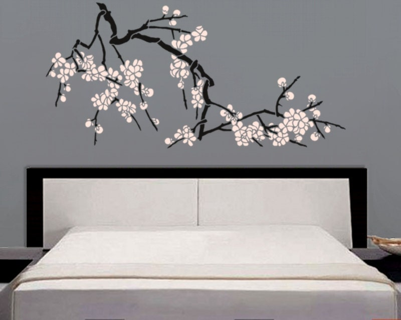 Stencil Japanese Cherry Blossoms Large Branch Stencil For