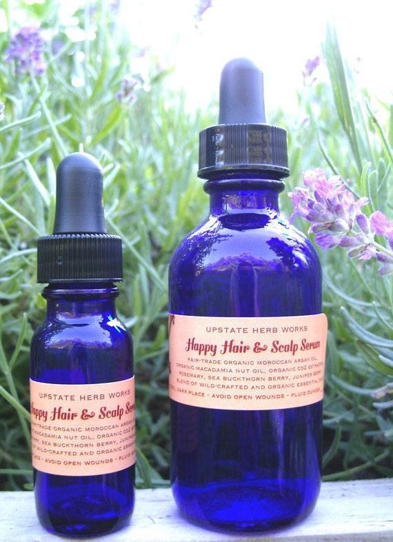 Happy Hair & Scalp Serum, Fair-Trade Moroccan Argan and Organic Kenyan Macadamia Oils, Essential Oils of Juniper, Lemon and Rosemary