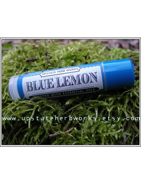 SALE, Blue Lemon, an Herbal Delight for Lips, Wild Tansy & Myrtle Essential Oils, Plus CO2 Extracts of Pomegranate, Rosemary