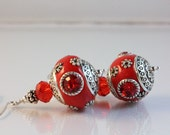 Red Kashmiri, Crystal, and Sterling Silver Earrings - NancysCrystalFantasi
