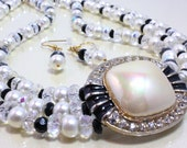 Black, White, and Crystal Necklace and Earrings, Vintage Focal, Bridal, Wedding, Prom