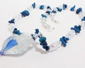 Lampwork Shell Necklace, Blue Coral, Crystal, Shell Pendant