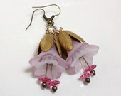 Pink and White Lily Earrings with Swarovski Crystals