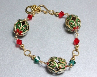 Christmas Cloisonne and Swarovski Crystal Bracelet
