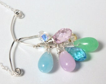 Pastel Jade and Crystal Necklace, Easter Necklace, Spring Necklace, Swarovski Crystal and Sterling Wire