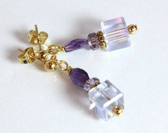 Amethyst and Crystal Earrings-Purple Mist