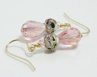 Pink Crystal Earrings, Cloisonne Teardrop Crystal
