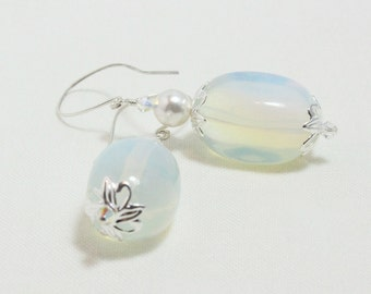 Opalite Earrings with Swarovski Crystals and Pearls