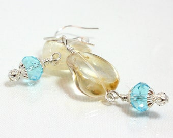 Wire Wrapped Citrine and Blue Crystal Dangle Earrings, November Birthstone