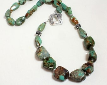 Natural Turquoise Necklace, Sterling Silver, Turquoise Nuggets