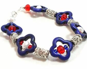Fourth of July, Patriotic, Crystal and Magnesite Bracelet