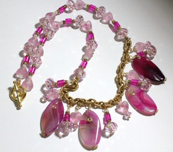 Fuchsia Agate Pink Beaded Charms Necklace