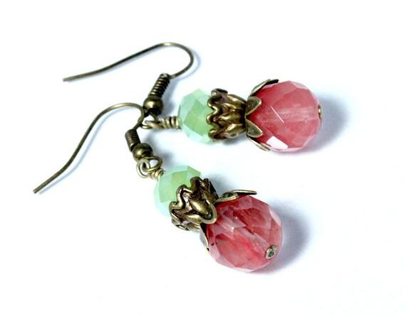 "Cherry ""Quartz"" Earrings with Mint Green Czech crystals"