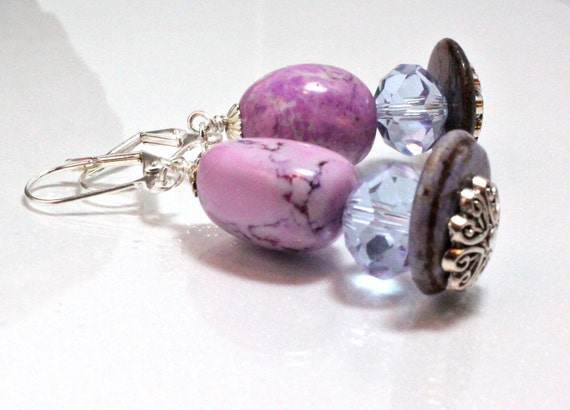 Lavender and Orchid Magnesite Dangle Earrings
