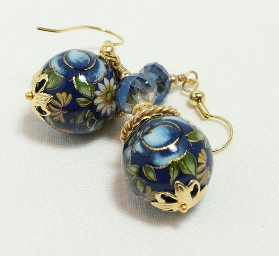 Sapphire Blue Tensha Bead and Crystal Dangle Earrings