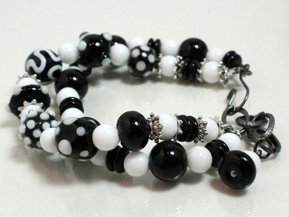 Black and White Lampwork Two Strand Bracelet