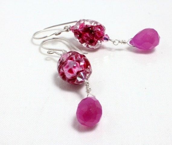 Raspberry Lampwork, Jade, and Sterling Earrings
