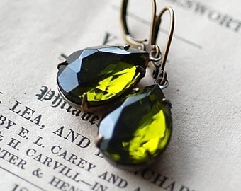 Olivine green pear rystal vintage bridal bridesmaids long estate elegant old hollywood