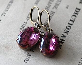 Pale Plum Violet Purple  crystal vintage bridal bridesmaids long estate old hollywood