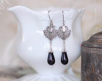 Silver Filigree Drops Jet Black crystal vintage bridal bridesmaids long estate old hollywood