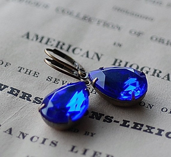 Vintage Sapphire vintsge  Swarovski Pear adjustable  estate old hollywood bridal brides maids