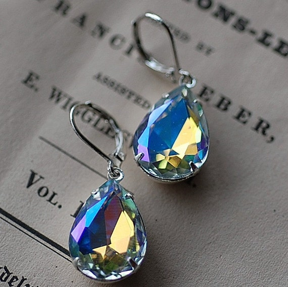 Earrings vintage  Crystal Clear AB Estate  old hollywood  elegaant special occasion Weddings Brides Bridesmaids