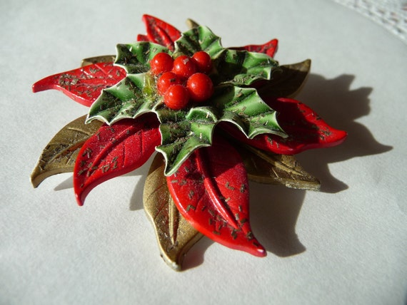 Large Vintage Poinsettia Flower Brooch with holly berry red bead center and glitter - green, red & gold - xmas - christmas -  holiday party