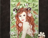"CLEARANCE Matted Print Elves Faeries ""Wood Witch"""