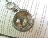 "Pocket Watch Collage Pendant Necklace Vampires Gothic Antique Style ""Dark Whispers"""