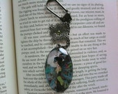 "Keychain Pendant Charm Peacock Faerie Fantasy ""Midnight Masquerade"""