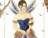 """Original Watercolor Painting Faerie Fantasy Autumn """"Autumn Masquerade"""""""
