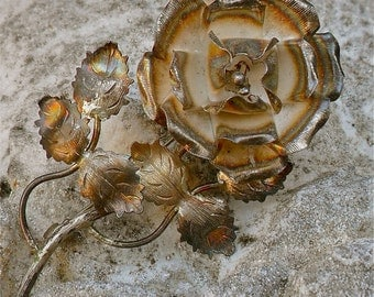 Beautiful Silver Flower Brooch-So Pretty