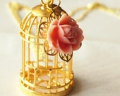 Empty Birdcage Necklace - Gold Plated Cage on Gold Plated Chain with Rose Cabochon - Christmas Gift